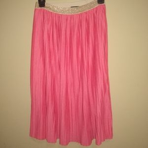 Apt. 9 coral and gold pleated mid calf skirt XL